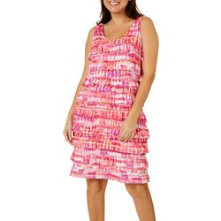 Womens Ruffel Graphic Print Dress