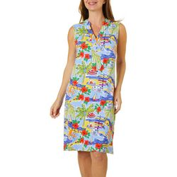 Sunsets and Sweet Tea Womens Tropical Beach Print Dress