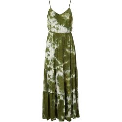 All in Favor Womens Tie Dye Tiered Maxi Dress