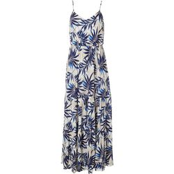 All in Favor Womens Palm Leaf Print Tiered Maxi Dress