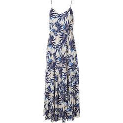 Womens Palm Leaf Print Tiered Maxi Dress