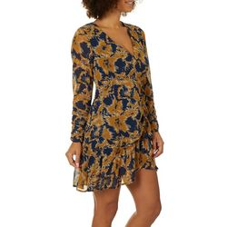 All In Favor Womens Floral Print Ruffle Wrap Dress