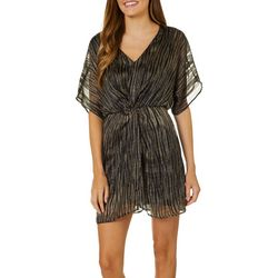All In Favor Womens Striped Foil Short Sleeve Wrap Dress