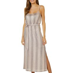 All In Favor Womens Foil Ribbed Tie Front Sleeveless Dress