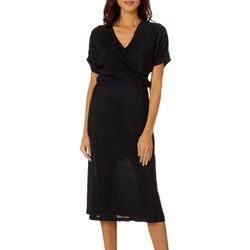All In Favor Womens Solid Pleated Kimono Dress