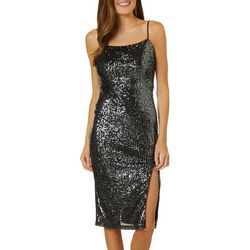 All In Favor Womens Sequin Side Split Sleeveless Dress
