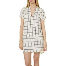 All In Favor Womens Window Pane Print Swing Dress
