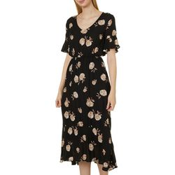 All In Favor Womens Floral Print Midi Dress