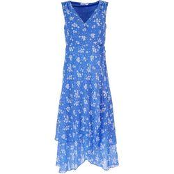 LUSH Womens Floral Crossed V-Neck Midi Dress