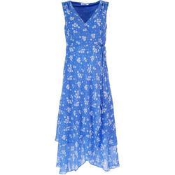 Womens Floral Crossed V-Neck Midi Dress
