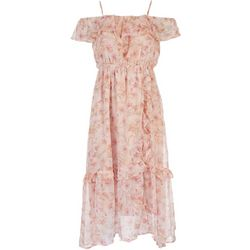 All in Favor Womens Pink Floral Midi Dress