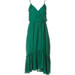 LUSH Womens Solid Splice Tiered Maxi Dress