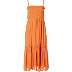 LUSH Womens Solid Smocked Flowy Dress