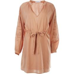Womens Stripe Eyelet Long Sleeve Dress