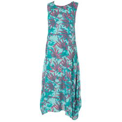 Kaktus Womens Relaxed Tropical Leaf Dress