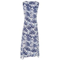 Kaktus Womens Relaxed Tropical Leaf Print Dress