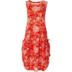 Kaktus Womens Relaxed Tropical Floral Print Dress