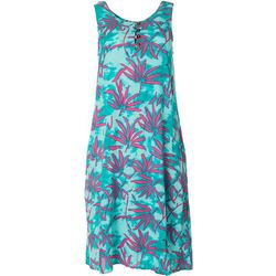 Kaktus Womens Relaxed Leaf Print Dress