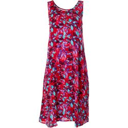 Kaktus Womens Sleeveless Relaxed Floral Print Dress