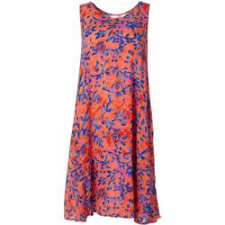 Womens Relaxed Leaf Print Sleeveless Dress