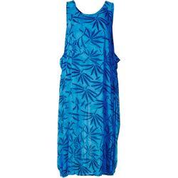 Kaktus Womens Relaxed Leafy Sleeveless Dress