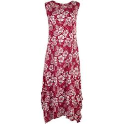 Womens Hibiscus Floral Flowy Dress