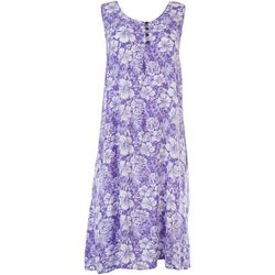 Kaktus Womens Sleeveless Hibiscus Print Dress