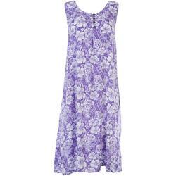 Womens Sleeveless Hibiscus Print Dress