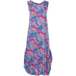Womens Tropical Crepe Midi Dress