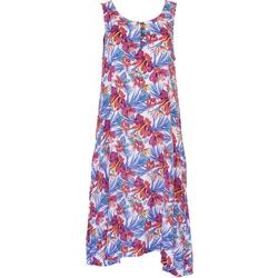 Womens Relaxed Tropical Print Dress