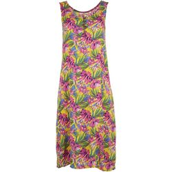 Kaktus Womens Sleeveless Tropical Hibiscus Swing Dress