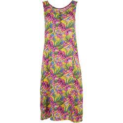 Kaktus Womens Sleeveless Tropical Hibiscus Swing Dress