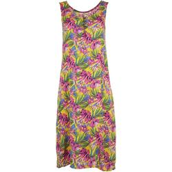 Womens Sleeveless Tropical Hibiscus Swing Dress