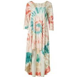 Vasna Womens Tie-Dye High-Low Mid Sleeve Dress