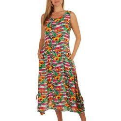 Kaktus Womens Tropical Midi Crepon Dress
