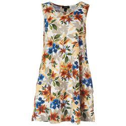 Kaktus Womens Floral Ribbed Dress