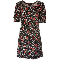 Kaktus Womens Puff Short Sleeve Ribbed Dress
