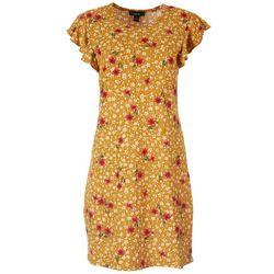 Kaktus Womens Ruffle Short Sleeve Textured Dress