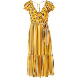 Flying Tomato Womens Stripe Ruffled Wrap Midi Dress