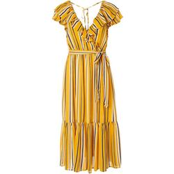 Womens Stripe Ruffled Wrap Midi Dress