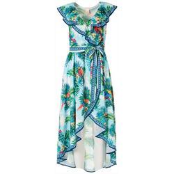 Womens Tropical Ruffled Wrap Midi Dress