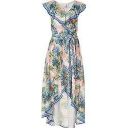 Womens Leafy Ruffled Wrap Midi Dress