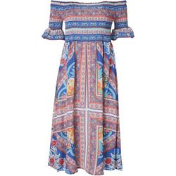 Womens Off The Shoulder Smocked Midi Dress