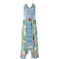 Jealous Tomato Womens Halter Tropical Midi Dress