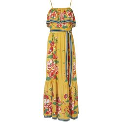 Flying Tomato Womens Floral Ruffle Tie Maxi Dress