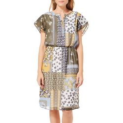 Como Blu Womens Floral Patchwork Print Short Sleeve Dress