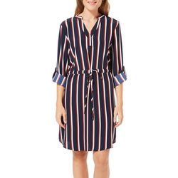 Como Blu Womens Stripe Print Drawstring Shirtdress