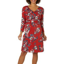 Como Blu Womens Floral Print Faux Belt Dress