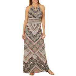 London Times Womens Mixed Chevron Keyhole Maxi Dress