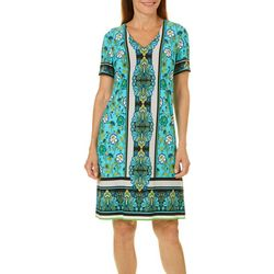 London Times Womens Flowers & Clovers Printed Dress